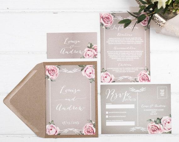 Vintage Wedding Invitation Set - A6 Grey Floral Framed