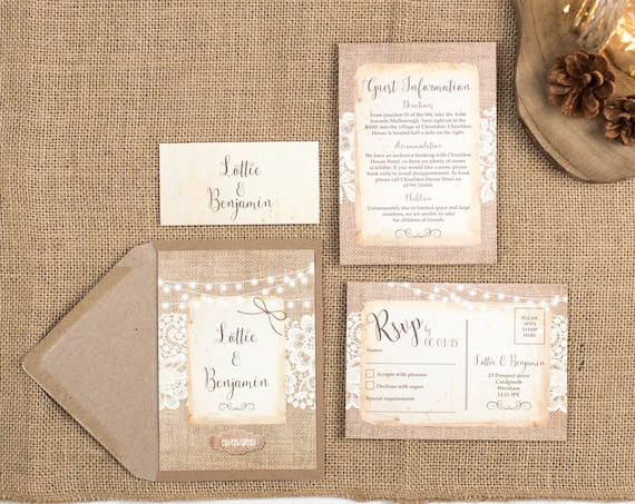 Rustic Wedding Invitation Set - A6 Burlap And Lace