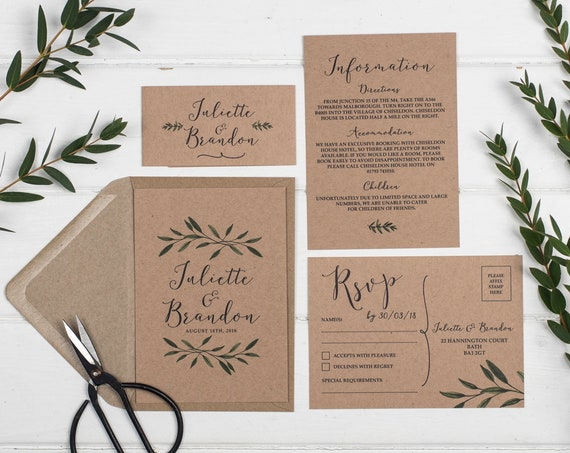 Rustic Wedding Invitation Set - A6 Woodland Kraft