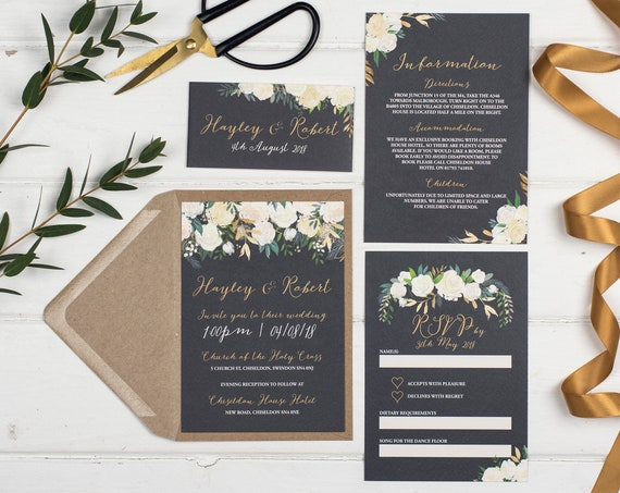 Wedding Invitation Set - A6 Gold Luxe Floral