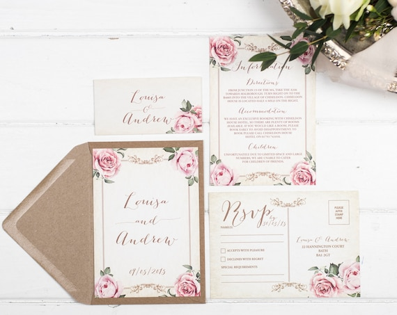 Vintage Wedding Invitation Set - A6 Ivory Floral Framed