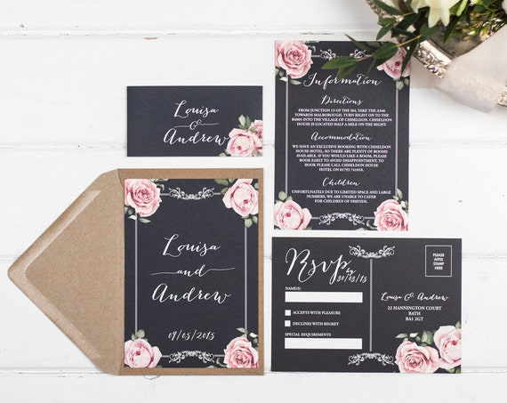 Vintage Wedding Invitation Set - A6 Chalkboard Floral Framed