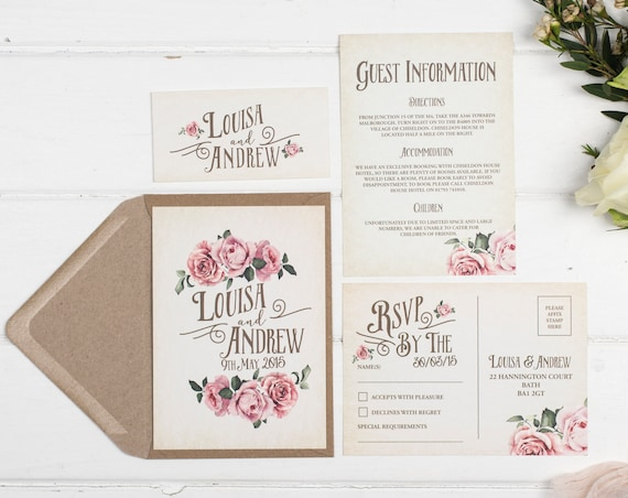 Rustic Wedding Invitation Set - A6 Ivory Rustic Rose