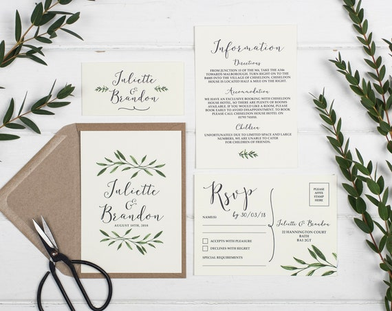 Rustic Wedding Invitation Set - A6 Natural Woodland