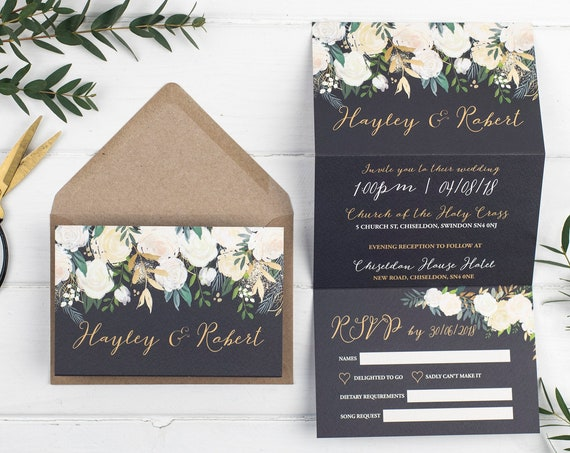 Wedding Invitation - Gold Luxe Floral Z-Fold