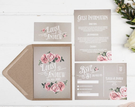Rustic Wedding Invitation Set - A6 Grey Rustic Rose