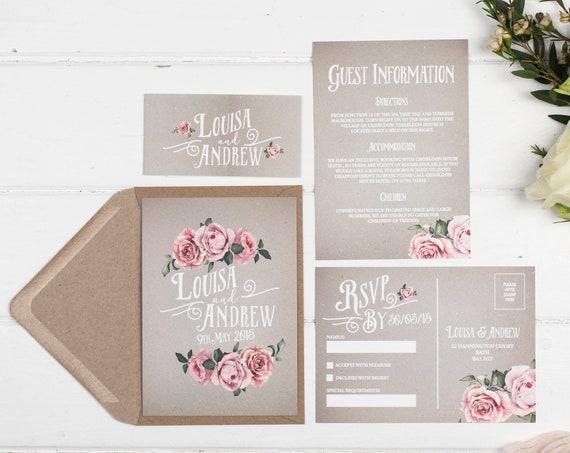 Rustic Wedding Invitation Set - A6 Grey Rustic Rose