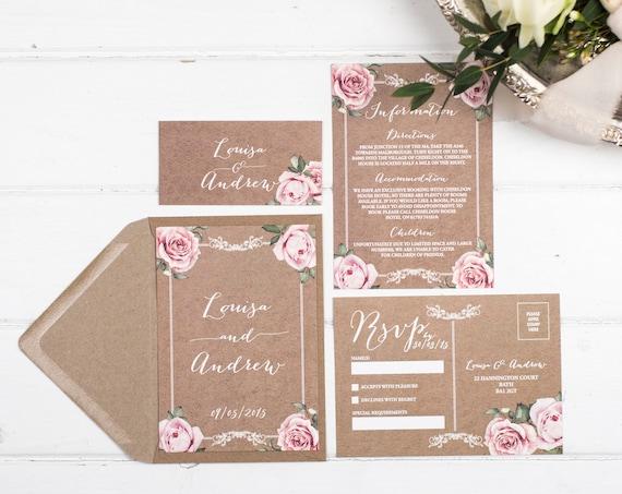 Vintage Wedding Invitation Set - A6 Kraft Floral Framed