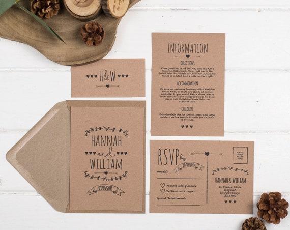 Rustic Wedding Invitation Set - A6 Brown Kraft