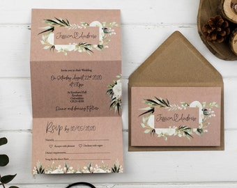 Rustic Wedding invitation Ivory Rose Double-Folded Portrait