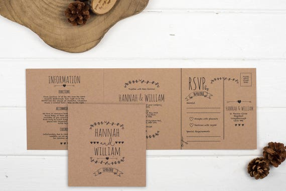 Rustic Wedding Invitation - Double-Folded Brown Kraft (landscape)