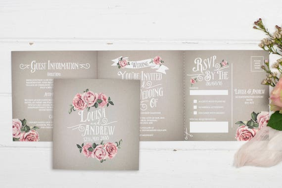 Rustic Wedding Invitation - Double-Folded Grey Rustic Rose (landscape)