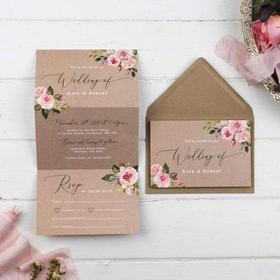 Rustic Wedding Invitation - Kraft Pink Posy Z-Fold