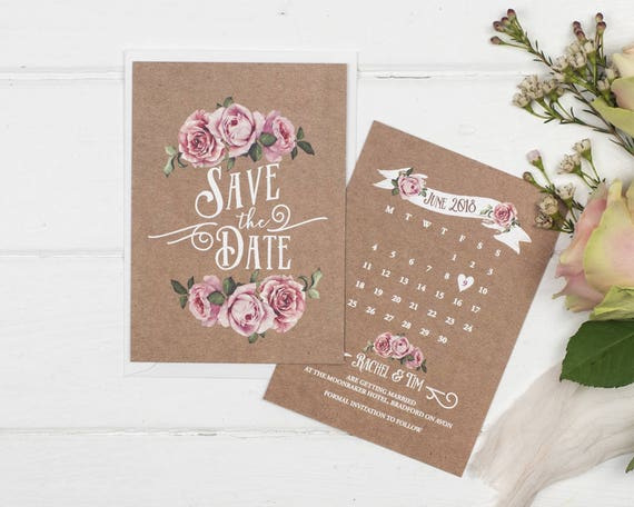 Rustic Save The Date Card - A6 Kraft Rustic Rose