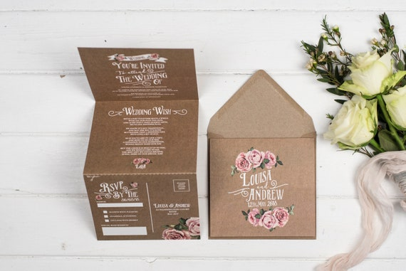 Rustic Wedding Invitation - Double-Folded Kraft Rustic Rose (portrait)