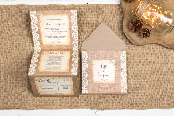 Rustic Lace Wedding Invitation - Double-Folded Burlap And Lace (portrait)