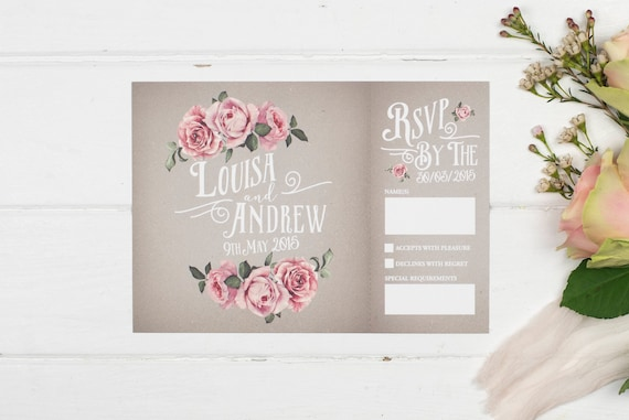 Rustic Wedding Invitation - A5 Grey Rustic Rose
