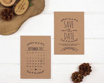 Rustic Save The Date Card - A6 Brown Kraft