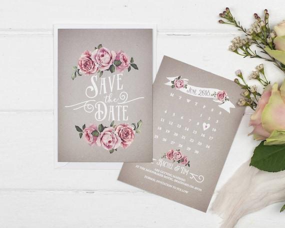 Rustic Save The Date Card - A6 Grey Rustic Rose