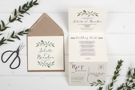 Rustic Wedding Invitation - Double-Folded Natural Woodland
