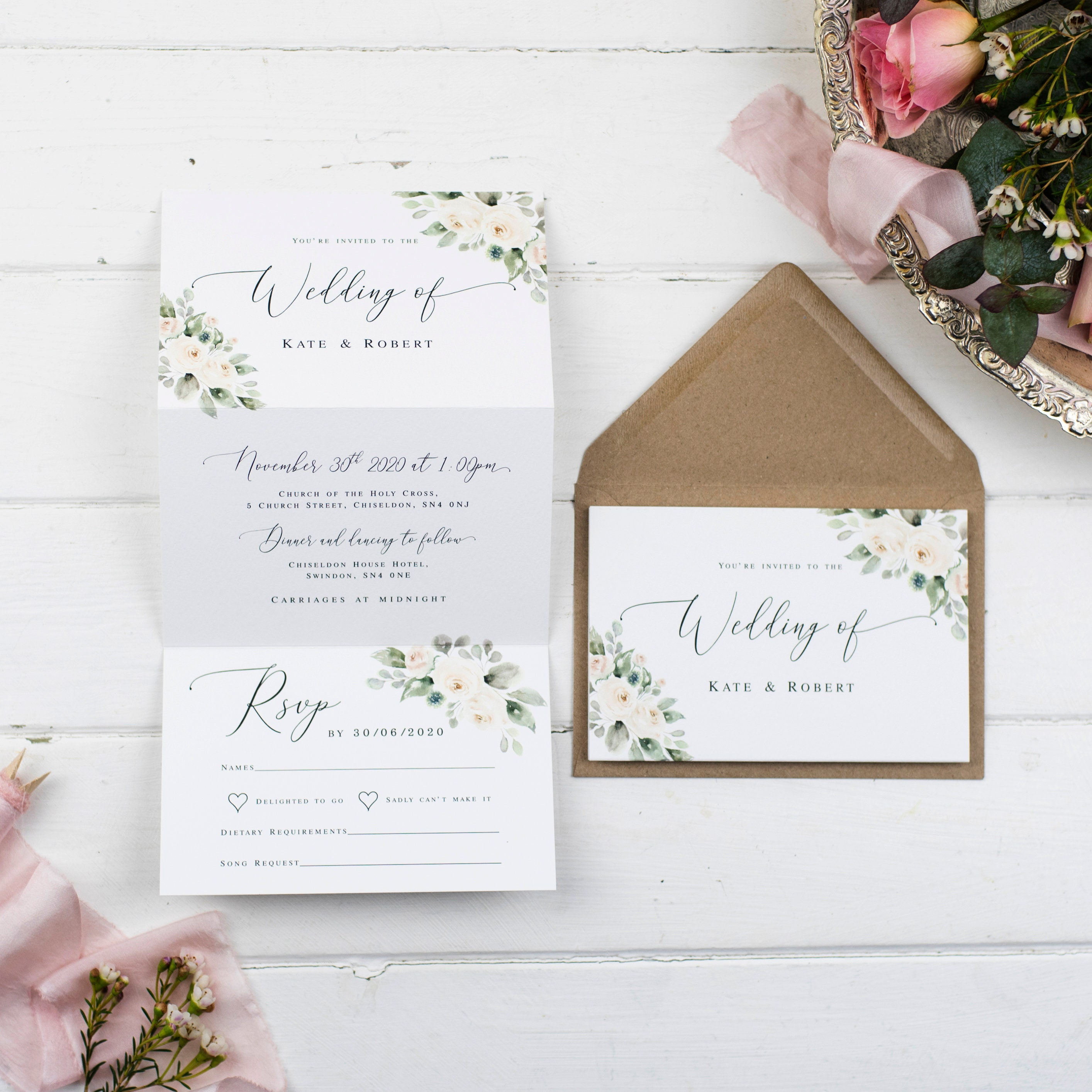 Rustic Wedding Invitation - Natural Ivory Posy Z-Fold