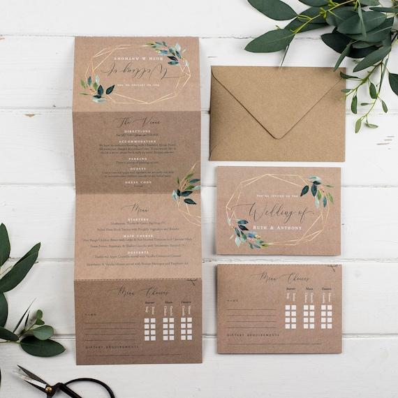 Deluxe Wedding Invitation With Menu Choices - Kraft Geo Foliage Concertina