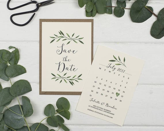 Rustic Save The Date Card - A6 Natural Woodland