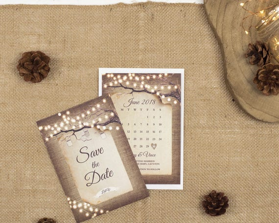 Rustic Save The Date Card - A6 Rustic Lights