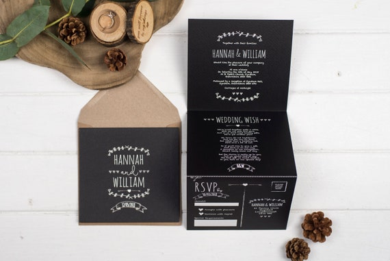 Rustic Wedding Invitation - Double-Folded Rustic Chalkboard (portrait)