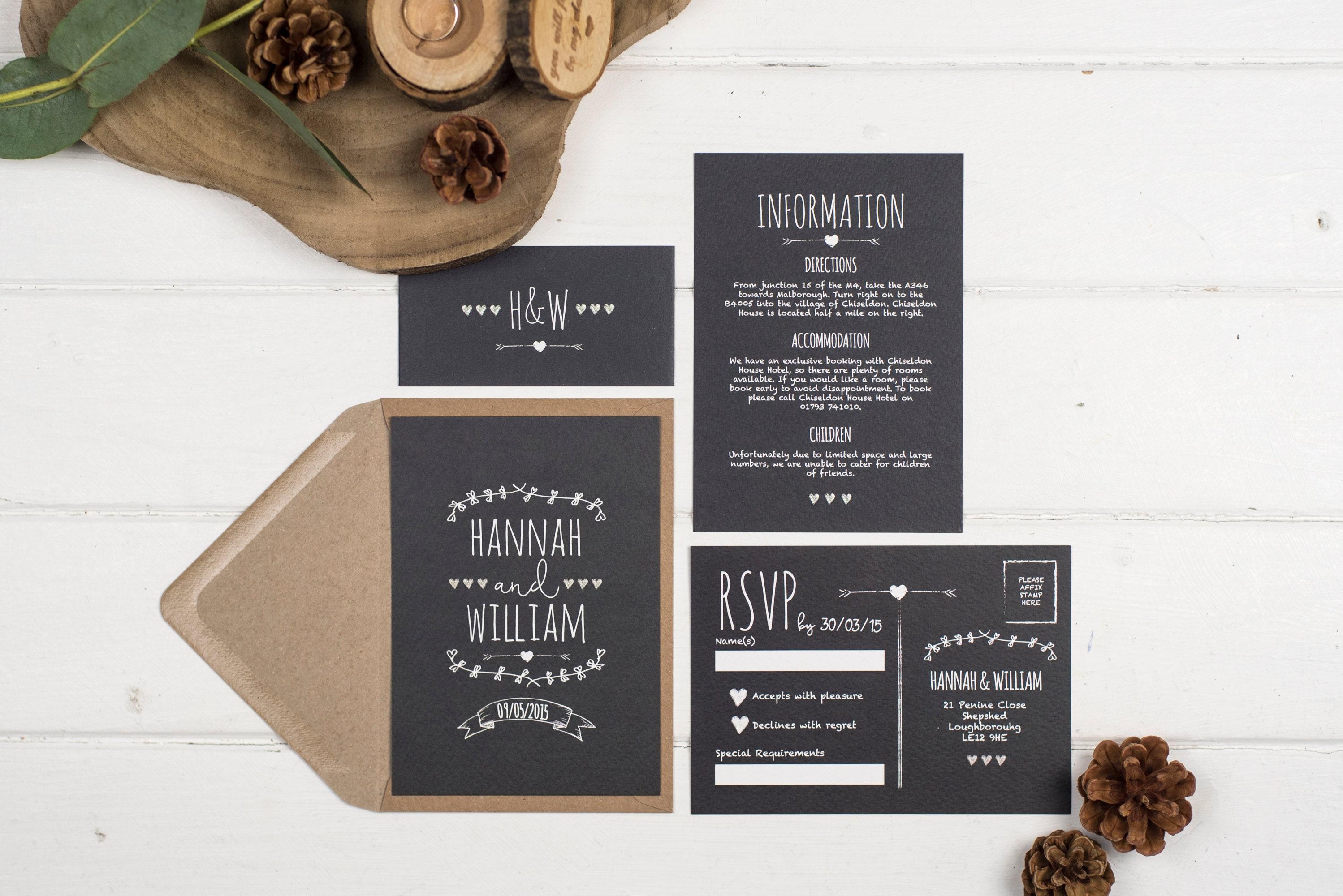 rustic wedding invitation set a6 rustic chalkboard
