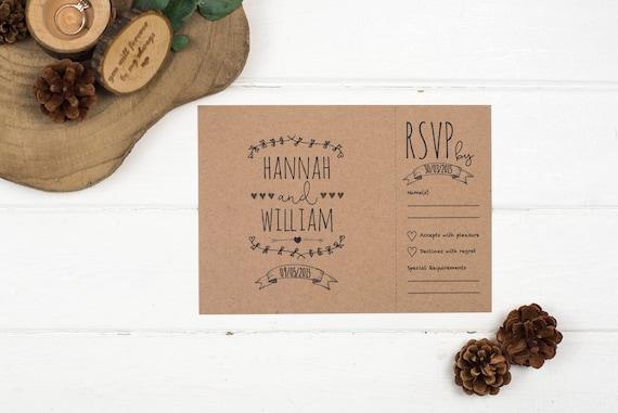 Rustic Wedding Invitation - A5 Rustic Kraft