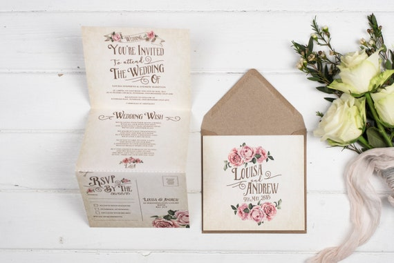 Rustic Wedding Invitation - Double-Folded Ivory Rustic Rose (portrait)