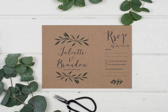 Rustic Wedding Invitation - A5 Woodland Kraft