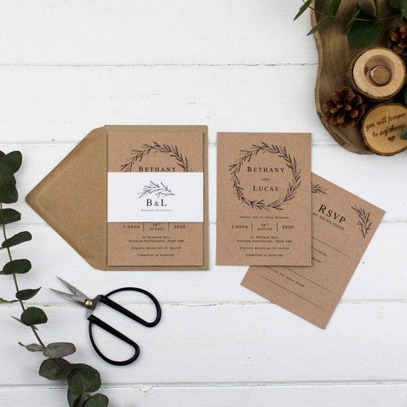 Rustic Wedding Invitation - Kraft Rustic Wreath Set