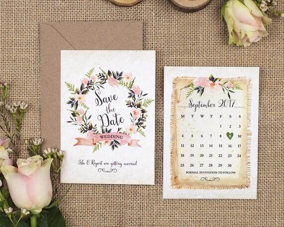 Rustic Save The Date Card - A6 Rustic Wreath