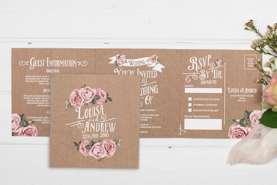 Rustic Wedding Invitation - Double-Folded Kraft Rustic Rose (landscape)