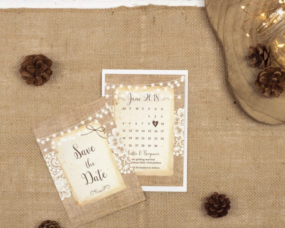 Rustic Save The Date Card - A6 Burlap And Lace