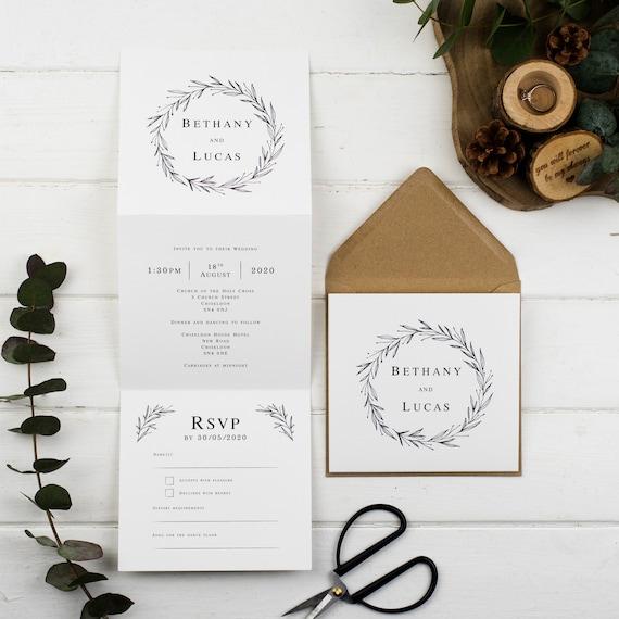 Rustic Wedding Invitation - Natural Rustic Wreath Z-Fold