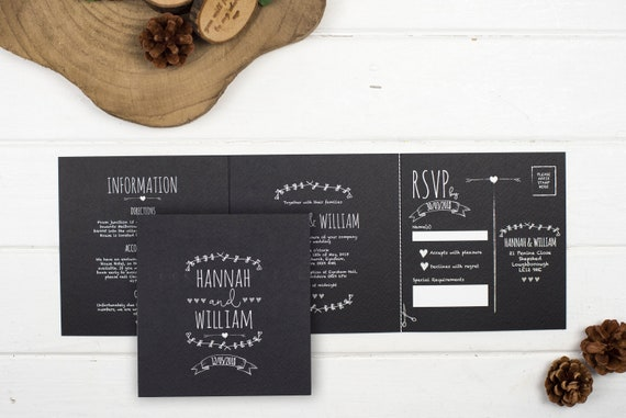 Rustic Wedding Invitation - Double-Folded Rustic Chalkboard (landscape)
