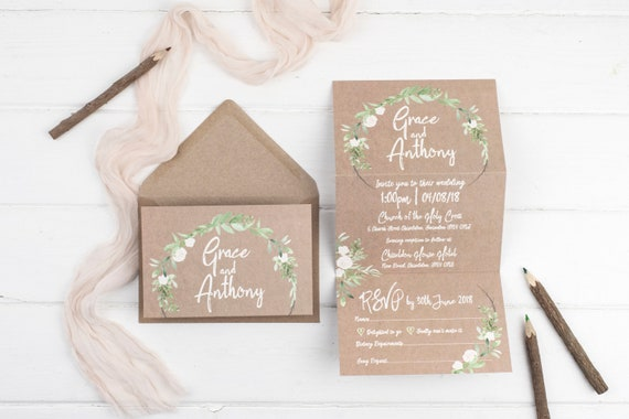 Rustic Wedding Invitation - Kraft Meadow Z-Fold