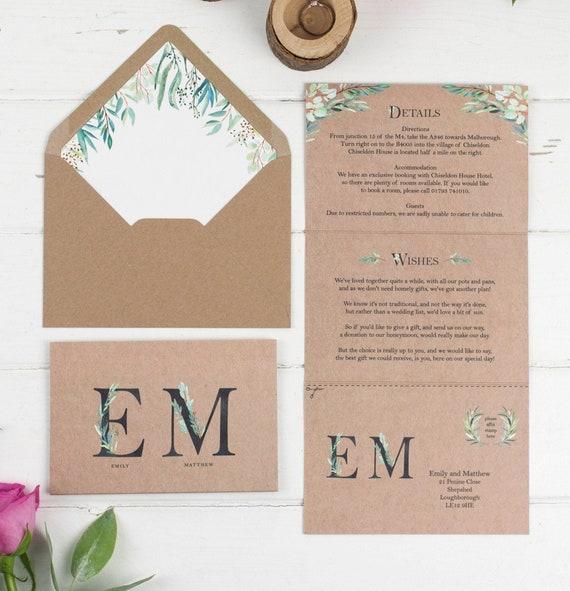 Wedding Invitation - Fern Monogram