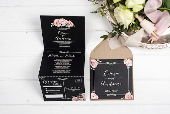 Rustic Wedding Invitation - Double-Folded Chalkboard Floral Framed (portrait)