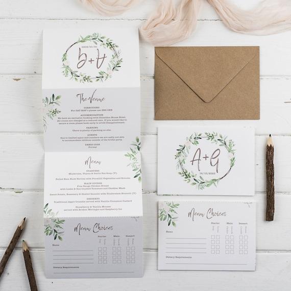 Deluxe Wedding Invitation With Menu Options- Kraft Meadow Z-Fold