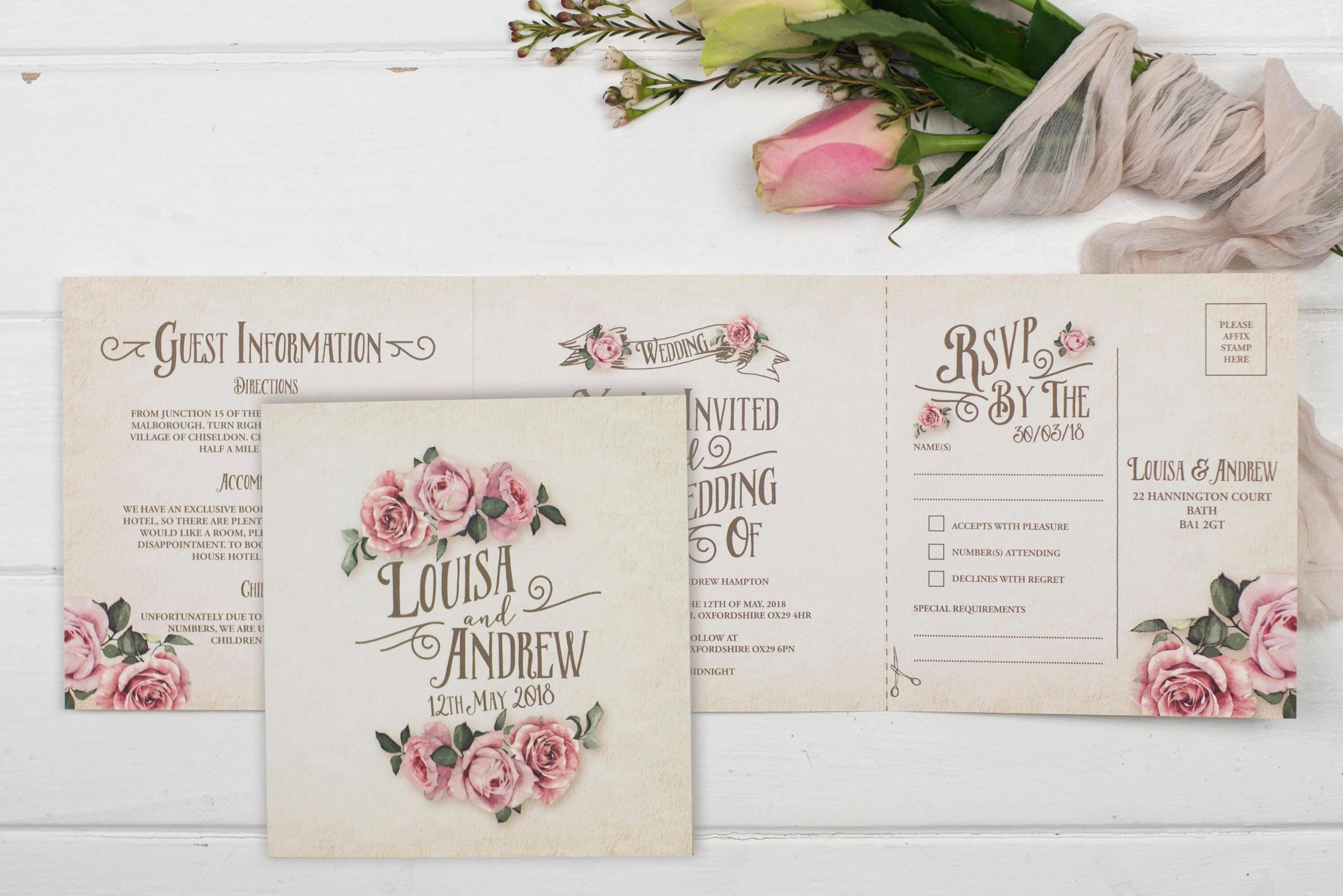Rustic Wedding Invitation - Double-Folded Ivory Rustic Rose (landscape)