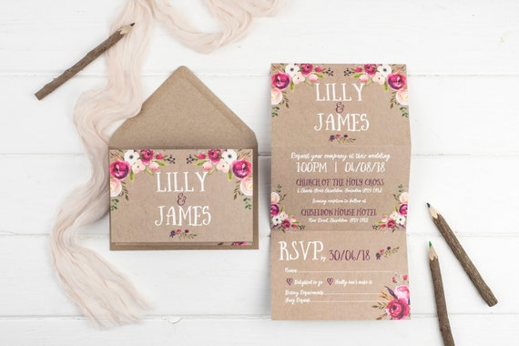 Rustic Wedding Invitation - Kraft Wildflower Z-Fold