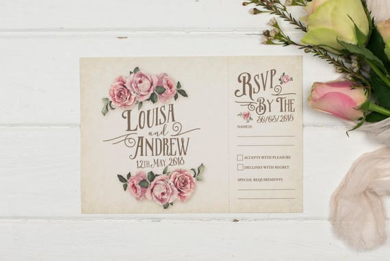 Rustic Wedding Invitation - A5 Ivory Rustic Rose