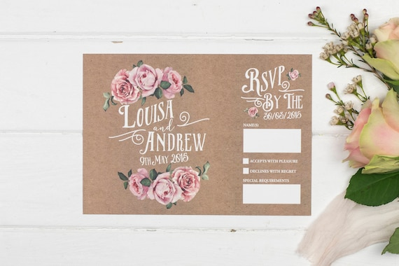 Rustic Wedding Invitation - A5 Kraft Rustic Rose