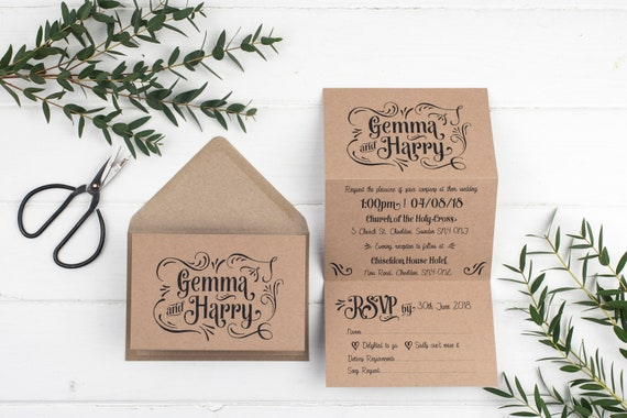 Rustic Wedding Invitation - Retro Kraft Z-Fold