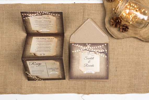 Rustic Wedding Invitation - Double-Folded Rustic Lights (portrait)