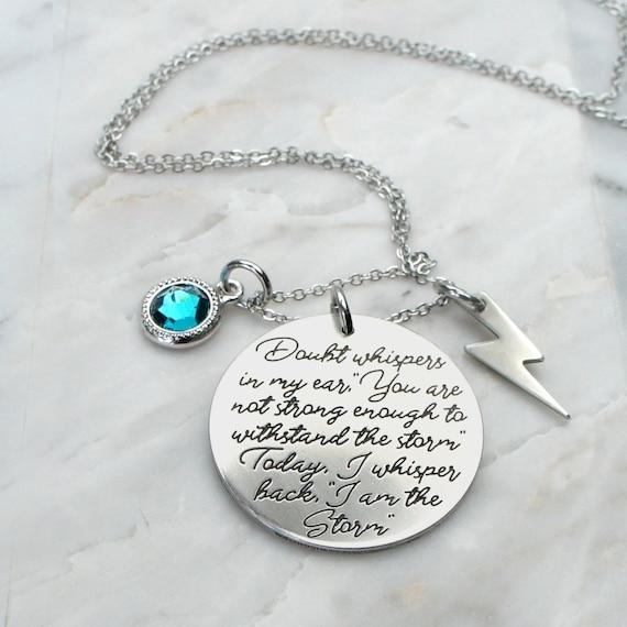 I am the Storm Women survivor jewelry strength necklace I am not afraid of storms prayer cancer warrior inspirational jewelry confidence 164